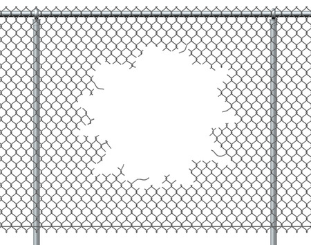 wire fence: Chain link fence hole with blank copy space isolated on a white background burst with ripped chainlink metal wire that has been punctured or punched open as a breakthrough blowout freedom and escape symbol. Stock Photo