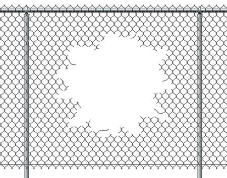Hek gat met lege kopie ruimte geïsoleerd op een witte achtergrond barsten met geripte chainlink metalen draad die is doorboord of geponst geopend als een doorbraak klapband vrijheid en ontsnappen symbool.