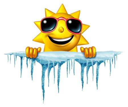 Zomer afkoelen concept en het afkoelen idee als een zon personage pictogram die op een brok van sneeuw en ijs met ijspegels als symbool voor het beheer van warm weer zomerse hitte en een verfrissende pauze van een hittegolf.