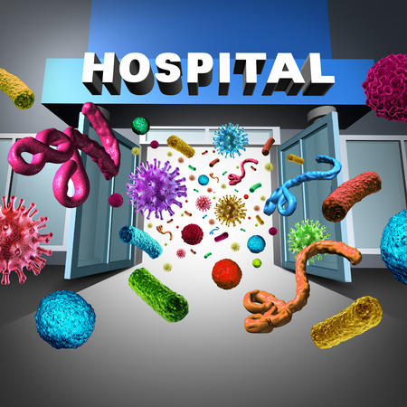 bacterial: Hospital germs spreading and super bug bacteria and bacterium cells floating in microscopic space as a medical concept of bacterial disease infection in a medical facility or Doctor examination office.