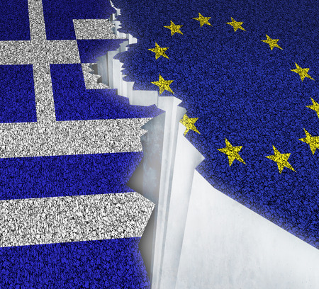 austerity: Greece Europe failure concept as a dividing crack on a broken road with the European union and Greek flag as a failure or potential grexit deal because of the debt crisis and austerity management of the Athens economy.