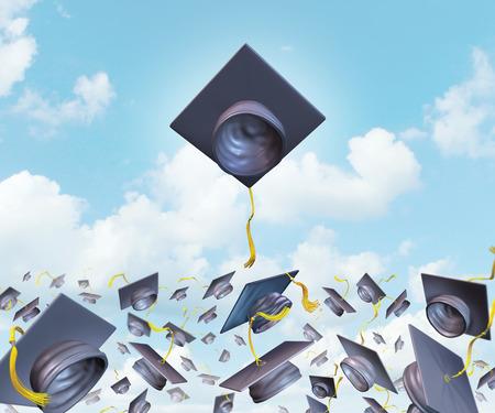 graduacion de universidad: La excelencia y el �xito Educaci�n educaci�n superior con los sombreros de graduaci�n lanzados en el aire como una celebraci�n con una junta de mortero de liderazgo m�s alto que la competencia como el sombrero tradicional de tirar para estudiantes universitarios y universitarios que se elevan por encima. Foto de archivo
