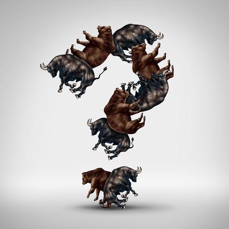 toro: Toros y osos preguntas con un toro mercado de valores y el oso conformados como un signo de interrogación como un concepto de inversión financiera de la codicia contra el miedo y un símbolo comercial para el estado de ánimo de los inversores y la previsión de Wall Street o la incertidumbre de los inversores en los mercados.