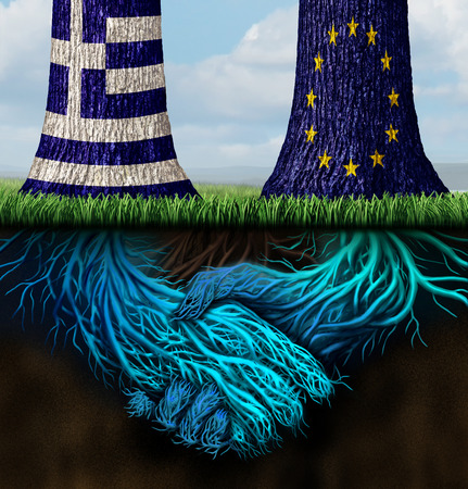 alliance: Greek europe agreement for a bailout and Greece Europe success concept as two trees with inderground roots shaped as shaking hands with the European union and Greek flag as a symbol for an economic accord and compromise.