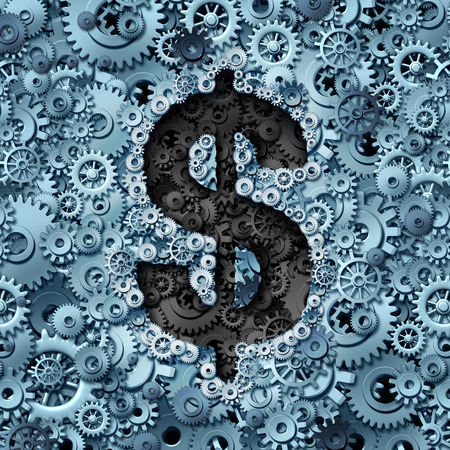financial symbol: Money machine concept as a financial operations symbol with a dollar sign icon inside a background of gears and cogwheels as a metaphor for wealth growth and industry profit. Stock Photo