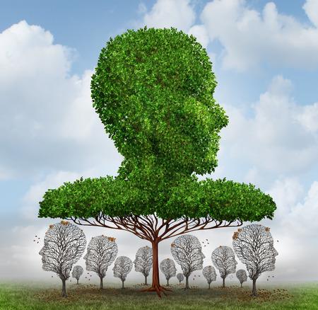Concepto de desigualdad social como una forma de una cabeza humana bloqueando la luz a los árboles más pequeños que han perdido sus hojas de abajo como un símbolo de injusticia económica corrupción y la disparidad entre los ricos y los pobres árbol gigante.