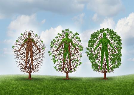 medicamento: Cura y el concepto de la recuperación y la curación a través símbolo terapia de rehabilitación como un árbol vacío creciendo gradualmente hojas sanas como un icono de la atención médica y la medicina ayudar al cuerpo humano a recuperarse de una enfermedad o lesión.