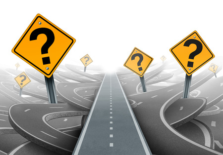 questions: Solution and strategy path questions and clear planning for ideas in business leadership with a straight path to success choosing the right strategic plan with yellow traffic signs cutting through a maze of highways.