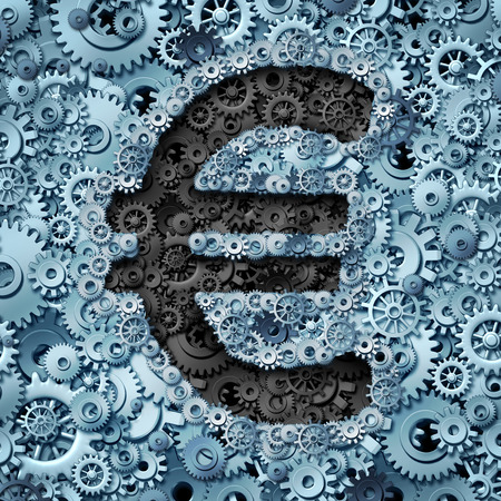 economic issues: Euro banking industry currency machine as a financial business concept with the money icon from the European union partnership made of gears and cogwheels as a financial idea or financing mechanics issues and economic operation symbol.