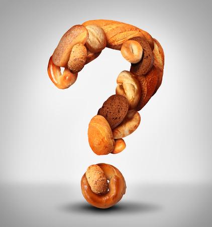 Bread Fragen Food-Konzept mit einer Gruppe von Backwaren aus einer Bäckerei oder Hausmannskost als ein Fragezeichen aus Vollkornbrot und Getreide mit Brot, wie Pumpernickel Pita Focaccia und Bagel gemacht geformt. Standard-Bild