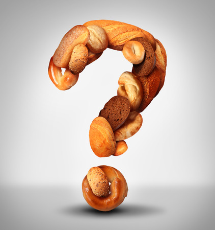 food allergy: Bread questions food concept with a group of baked goods from a bakery or home cooking shaped as a question mark made from whole wheat and grains with breads as pumpernickel pita focaccia and bagel.