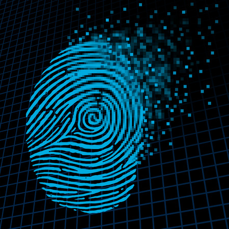 Personal information encryption and private data protection as a digital fingerprint being pixelated into encrypted pixels as a security technology symbol and password protection icon and online customer info. Stockfoto