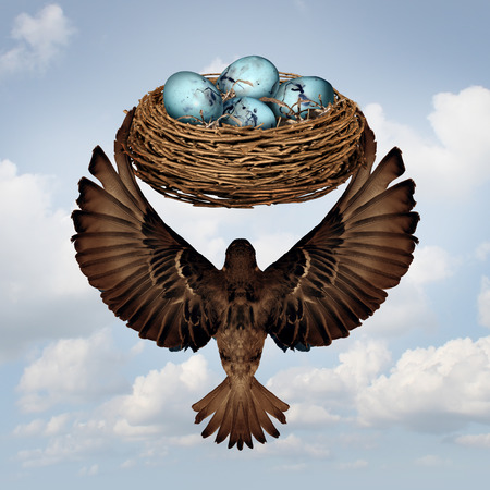 relocating: Home moving concept and relocating real estate metaphor as a mother or father parent bird transporting a nest full of eggs for a change in neighborhood or business idea for changing or relocate an investment to a safer location.