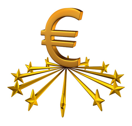 backing up: Euro currency support financial business concept as stars from the European union partnership reaching out to lift up the three dimensional money symbol as a financial and business idea or financing issues and economic symbol.
