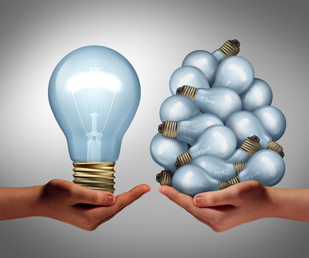 Big idea concept as a hand holding a large lghtbulb and another holding a group of small bulbs as a symbol for creativity and efficient creative leadership management or innovative inspiration leader.