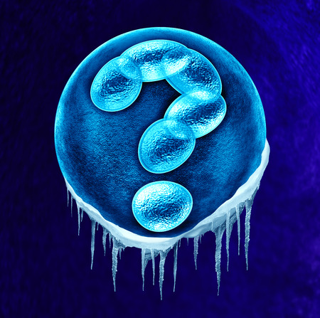 fertility: Frozen embryo concept and genetic and legal questions as a social issue or medical health care idea with a fertilized human egg embryo and dividing cells in the shape of a question mark as a symbol for fertility DNA and gene related issues.