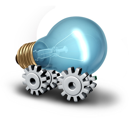 inventive: Electricicity industry concept and electric vehicle idea as a lightbulb on gear or cogwheels as a symbol for innovative technology and creative business on a white background.