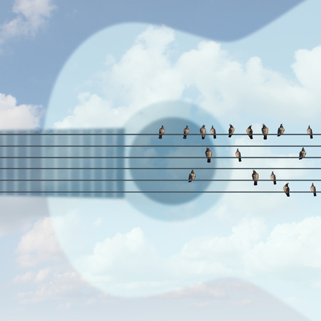 blues: Outdoor musical concert concept as an open air music show symbol with a guitar shape in the sky with birds on six string electric wires as a summer celebration festival of jazz blues rock or country.