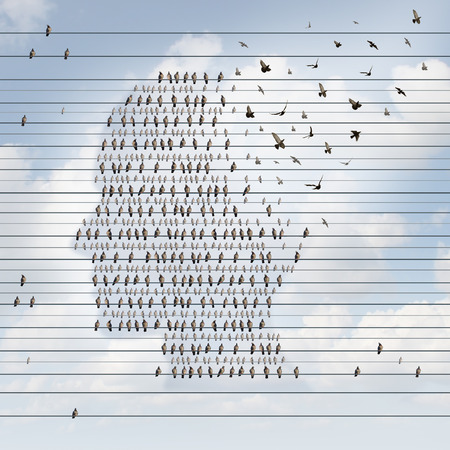 memory loss: Alzheimer disease concept as a medical mental health care idea as a group of perched birds on an electrical wire flying away shaped as a side profile of a human face as a symbol for neurology and dementia or memory loss. Stock Photo