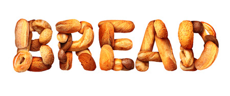 Bread text staple food concept with a group of baked goods from a bakery or home cooking shaped as letters made from whole wheat and grains with breads as pumpernickel pita focaccia bagel made from dough.