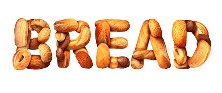comida rica: Pan concepto alimento básico de texto con un grupo de productos de panadería de una forma tan letras hechas de trigo integral y cereales con panes como panecillo focaccia de pita integral de centeno hecha de masa de panadería o en el hogar cocinar.
