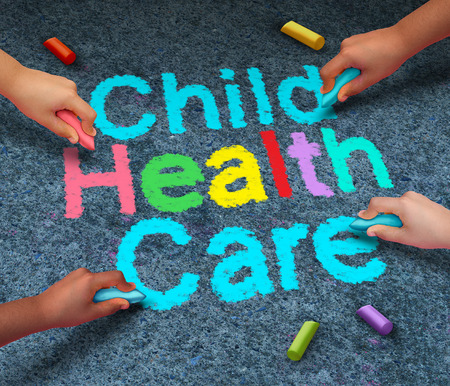 Child health care concept or children healthcare symbol as a group of kids holding chalk drawing text on an outdoor floor as a symbol for an active healthy kid or medical insurance coverage icon.