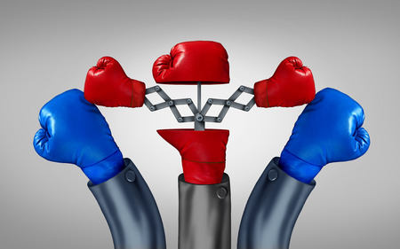 double the chances: Multiple strategy and financial diversification to reduce risk in investing with different competing directions as an open red boxing glove with two emerging hidden gloves with opposite paths as two pronged plan business metaphor to increase sucess odds. Stock Photo