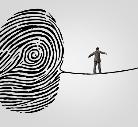 Customer information security risk concept as a person walking on a finger print shaped as a high wire line as an online  symbol and metaphor for personal account data or database breach danger. Stock Photo