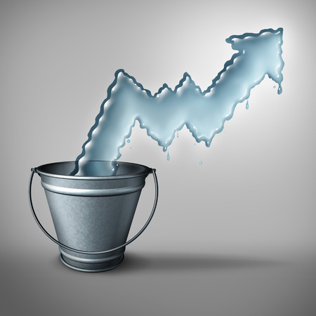 scarcity: Water demand concept and clean drinking freshwater scarcity crisis as liquid shaped as a rising chart arrow emerging from a metal bucket as a symbol of limited resources and increase in usage restrictions.