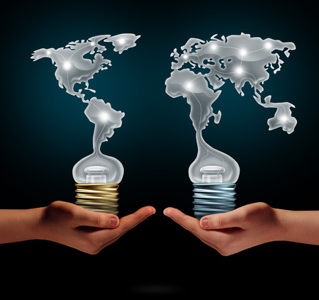 Global creativity business success concept as people holding ligh t bulbs shaped as world continents as a financial trade symbol for creative collaboration and exchange of innovation.