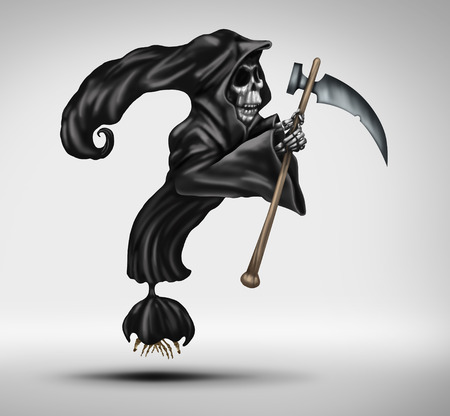doomed: Mortality question as a grim reaper or ghost of death character shaped as a question mark as a concept for declining health uncertainty and aging fear of dying.