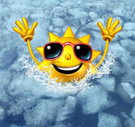 楽しさとクールダウン熱波から管理の暑い夏の暑さとリフレッシュのためのシンボルとして冷凍氷の水に飛び込む幸せな熱い太陽文字としてコンセ 写真素材
