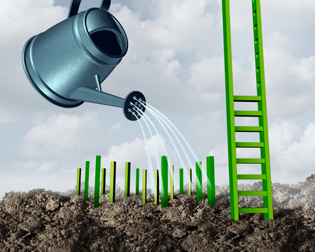 metaphor: Success development growth concept as a watering can feeding water to growing green step pegs destined to complete a rising ladder structure of achievement and opportunity as a business idea metaphor.