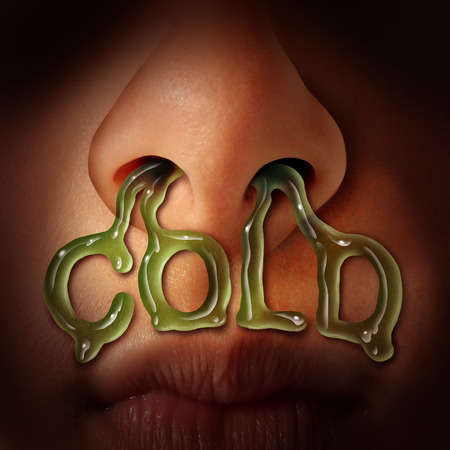 Cold and flu symptoms medical health care concept as nostrils dripping mucus flowing out of a human nose as a medical symbol for seasonal sinus infection or nasal congestion. Foto de archivo