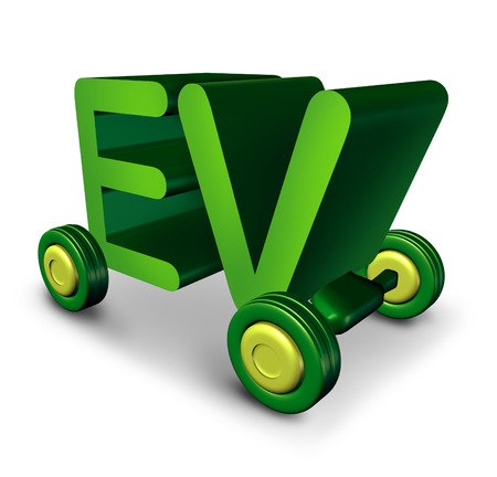 environment friendly: Electric vehicle concept and EV symbol as green letters on wheels as an icon for electricity powered auto and the future of environment friendly battery powered transportation and zero emission automobile. Stock Photo