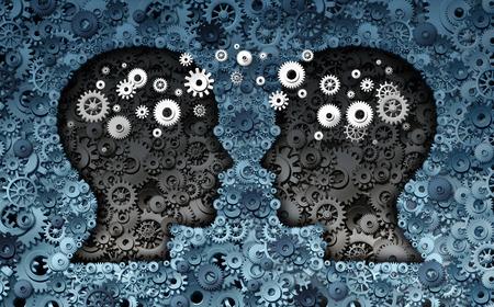 colaboracion: Concepto de desarrollo neurociencia La formaci�n como un grupo de ruedas dentadas y engranajes formados como cabezas humanas con la transferencia de la informaci�n como un s�mbolo de la tecnolog�a del cerebro o el �xito de intercambio psicolog�a.
