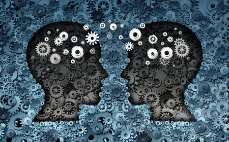 partnership strategy: Training neuroscience development concept as a group of cog wheels and gears shaped as human heads with information transfer as a technology brain symbol or psychology exchange success. Stock Photo