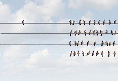 Individuality symbol and independent thinker concept and new leadership concept or individuality as a group of pigeon birds on a wire with one individual bird in the opposite direction as a business icon for new innovative thinking. Stockfoto