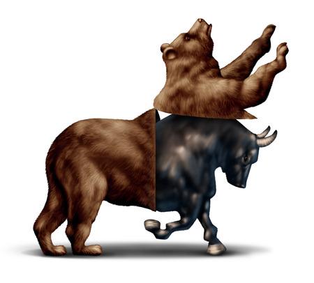 toro: Mercado alcista de la recuperación económica concepto de negocio financiero como un oso abriendo y revelando un mercado bursátil alcista emergiendo como una metáfora para el cambio en invertir el sentimiento y la confianza de los inversores.