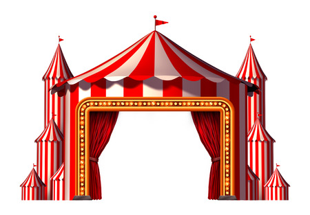 carnival party: Circus blank space stage tent design element as a group of big top carnival tents with a red curtain opening entrance as a fun entertainment icon for a theatrical party festival isolated on a white background. Stock Photo
