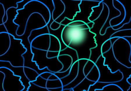 Concepto de la psicología social como un grupo de red conectada de iconos de personas con un cerebro persona iluminada como un símbolo para la interacción de sociología y de grupo.