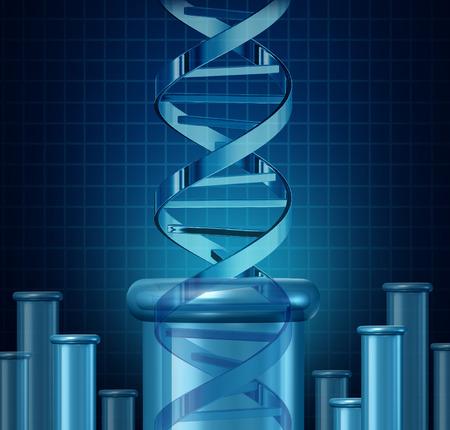 research: Las pruebas de ADN y el concepto de la investigación genética como un vaso de precipitados de doble hélice de la ciencia como la biotecnología y el símbolo de la ciencia médica para la edición de genes como una doble hélice se levanta de un vaso de precipitados de laboratorio.