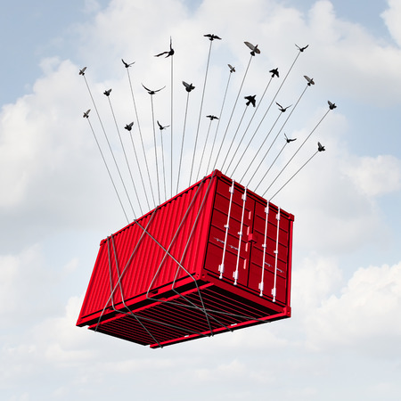 surreal: Air cargo concept as a metal transport container being lifted with a group of birds as a surreal delivery and overseas shipping symbol or international business trade. Stock Photo