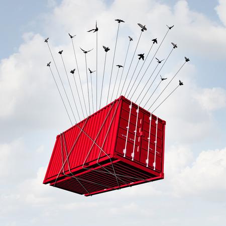 Air Concept carico come un contenitore per il trasporto di metallo che è alzato con un gruppo di uccelli come una consegna surreale e simbolo di trasporto d'oltremare o il commercio business internazionale.