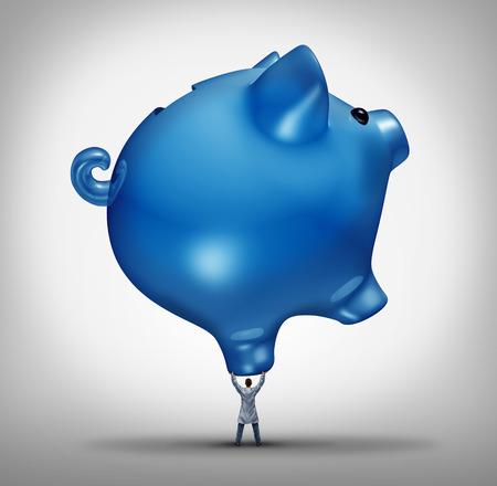 gesundheit: Krankenhauskosten Gesundheitsbudgets Konzept wie ein Arzt, das eine riesige Sparschwein-Symbol als medizinisches Symbol für die finanzielle Unterstützung der Krankenversicherung oder der schweren Last der Arzneimittelpreise.