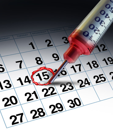 appointments: Medical apointment concept and doctor clinical date as a hospital syringe needle highlighting a day on a calendar with human blood as a symbol for patient management. Stock Photo