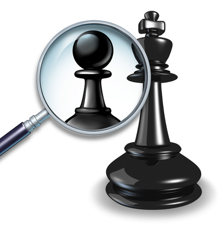 demotion: Not a leader business concept with a chess game king and a magnifying glass showing a change to a pawn follower or employee figure as a symbol of failed leadersip and lack of management skill.
