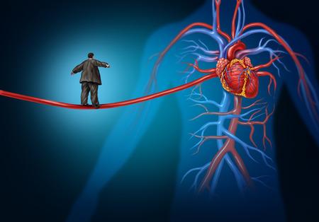 heart disease: Los factores de riesgo para enfermedades del corazón peligro como un estilo de vida concepto de atención de salud médica con una persona con sobrepeso caminando sobre una arteria alargada