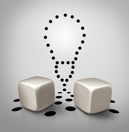 hipótesis: Idea Venture y la invención icono concepto dados con los puntos en forma de bombilla como símbolo de negocios creativos para aumentar las probabilidades de éxito para ganar las ideas o los juegos de azar a propuesta potencial spec.