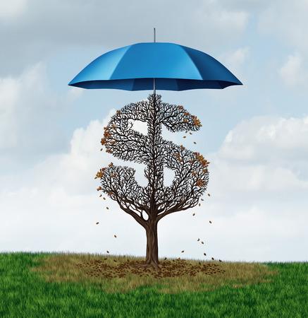 経済保護主義政策と安全保障の傘が必要な太陽と雨ビジネス被害と不利な点の結果をブロックするための葉を失うお金ドル記号として形ツリーとし 写真素材